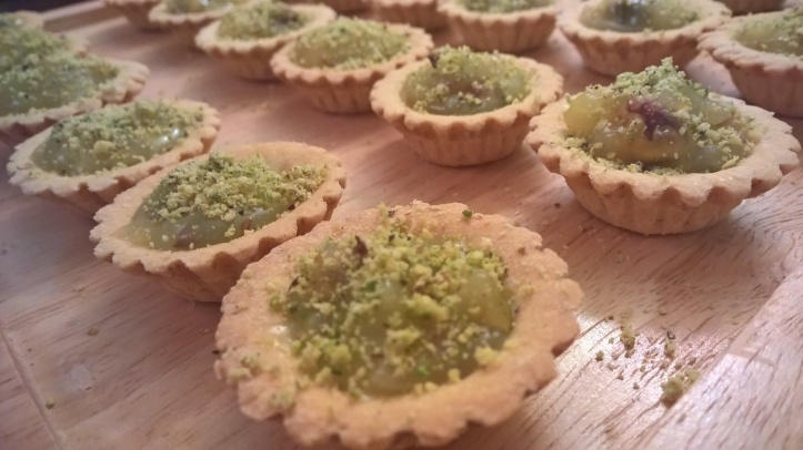 Lemon curd & pistachio mini tarts